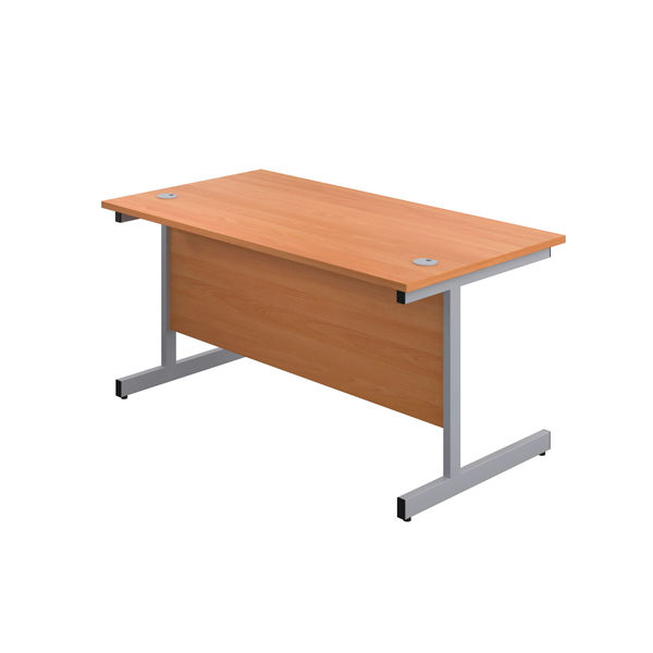 First 1200mm Beech/Silver Single Rectangular Desk