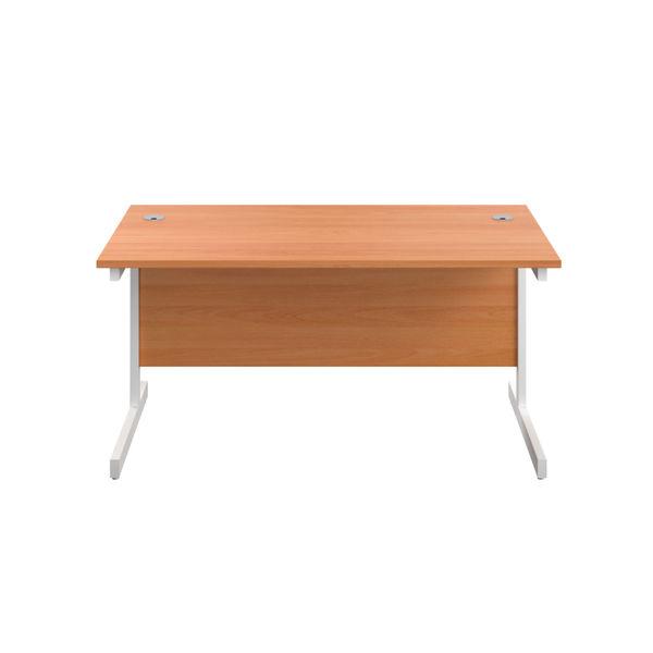 First 1400mm Beech/White Single Rectangular Desk