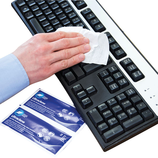 AF Ultraclene Duo Wet and Dry Keyboard Wipe Sachets (Pack of 10) - AULT010