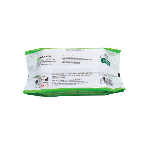 Monolith Antibacterial Wipes White (Pack of 50) 1000000089