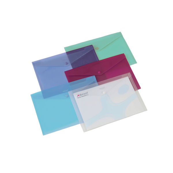 Rexel Clear Assorted A4 Popper Folders, Pack of 6 | 16129AS