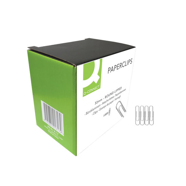 Q-Connect 32mm Lipped Paperclips (Pack of 1000) - ZCPL28/1000