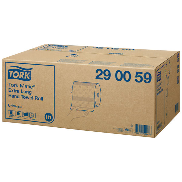 Tork Matic H1 280m White System 1-Ply Hand Towel Rolls, Pack of 6 - 290059
