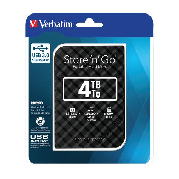 Verbatim 4TB Store n Go Gen 2 Portable Hard Drive - 53223