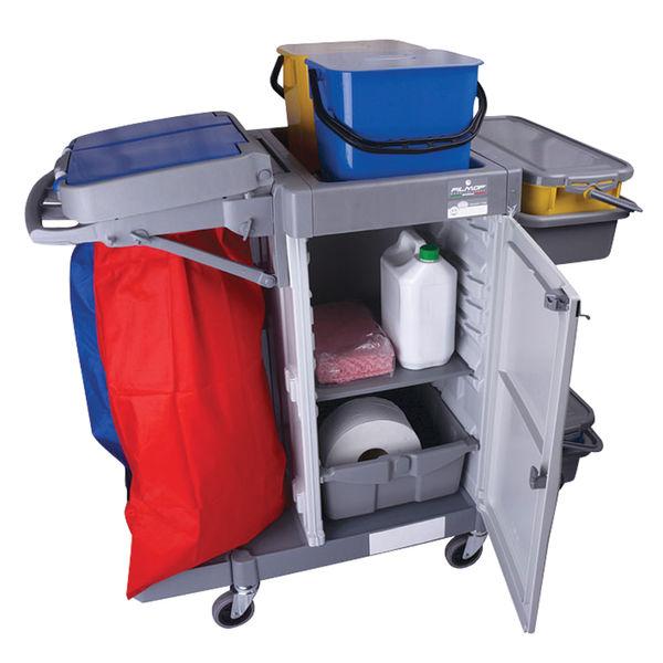 Rokleen Alpha Trolley (2 x 10 litre mop containers, 2 shelves, lockable compatment) MWATST01L