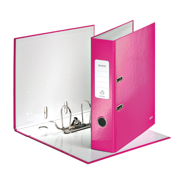 Leitz Wow 180 Lever Arch File 80mm A4 Pink  (Pack of 10) 10050023