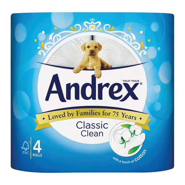 Andrex 2-Ply Classic Clean Toilet Rolls, Pack of 24 - 4480115