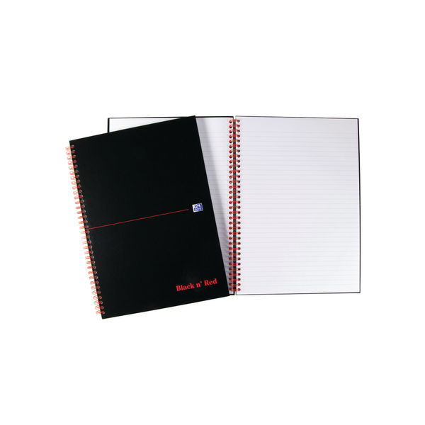Black n Red A4 Ruled Wirebound Hardback Notebook - Pack of 5 - 100102248