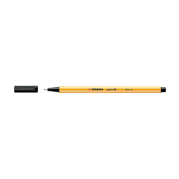Stabilo Point 88 Black Fineliners, Pack of 10 - 88/46