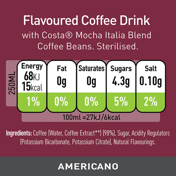 Costa Coffee Americano 250ml Can (Pack of 12) 249809