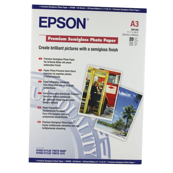 Epson Premium White A3 Semi-Gloss Photo Paper, 251gsm - 20 Sheets - C13S041334