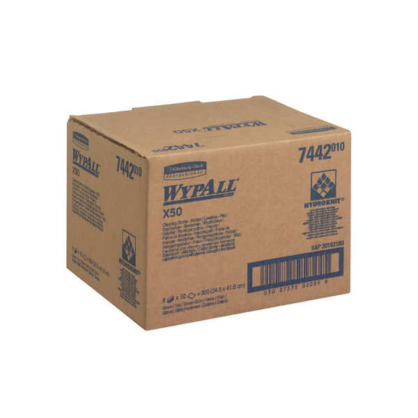 Wypall X50 Green Cleaning Cloths, Pack of 50 - 7442