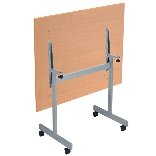 Jemini 1200x700mm Beech/Silver Rectangular Tilting Table