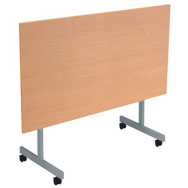 Jemini 1800x800mm Beech/Silver Rectangular Tilting Table