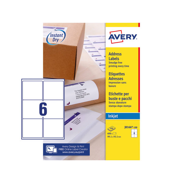 Avery Inkjet Label 99.1x93.1mm 6 Per Sheet Wht (Pack of 600) J8166-100