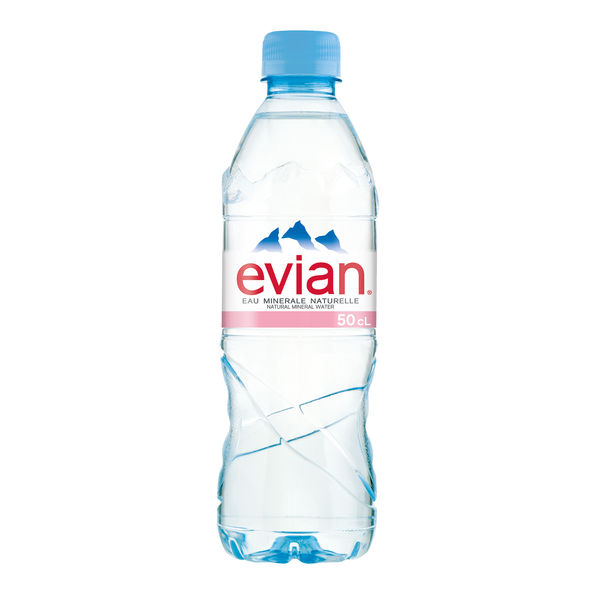 Evian 500ml Natural Spring Water Bottles, Pack of 24 | A0103912