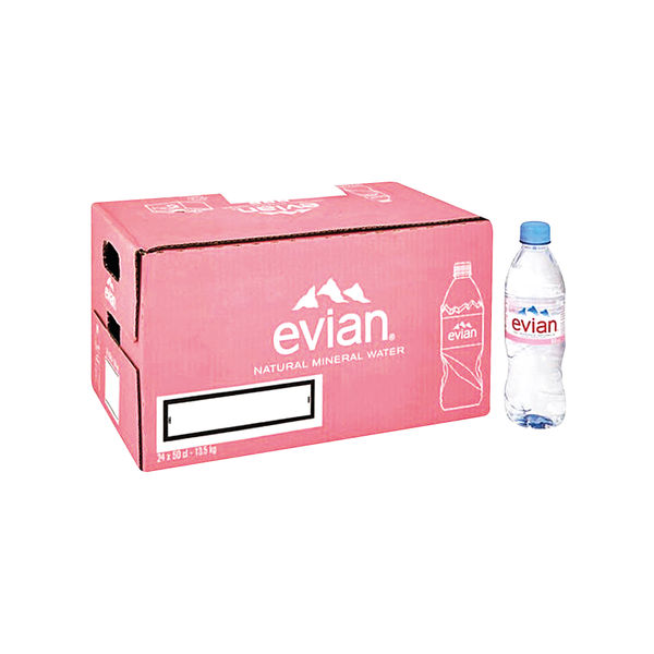 Evian 500ml Natural Spring Water Bottles, Pack of 24 - A0103912