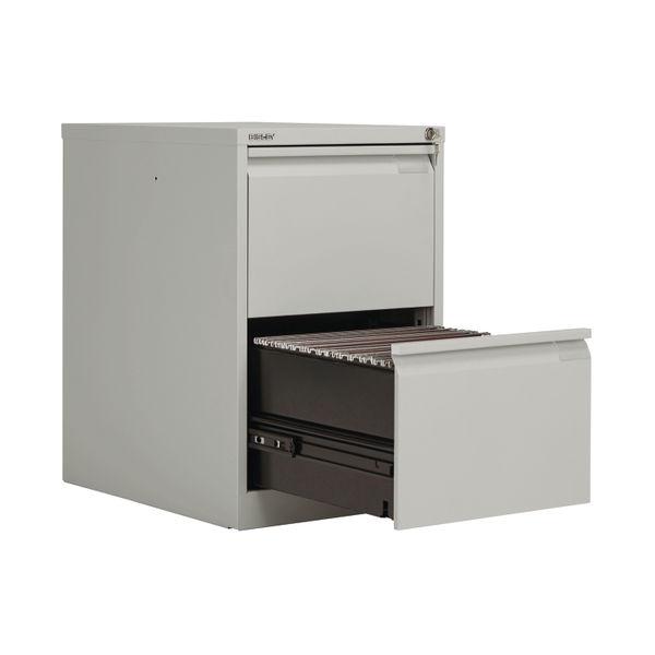 Bisley 711mm Goose Grey 2 Drawer Flush Fronted Filing Cabinet - BS2EGY
