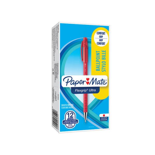 Paper Mate Medium Flexgrip Red Ballpoint Pens, Pack of 12 - S0190133