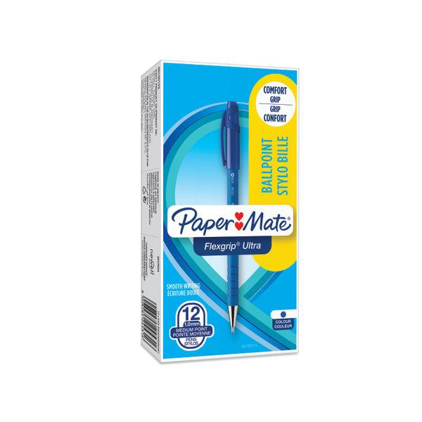 Paper Mate Medium Flexgrip Blue Ballpoint Pens, Pack of 12 - S0190153