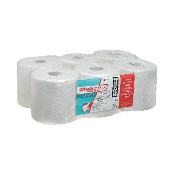 Wypall L10 White Wiper Centrefeed Rolls, Pack of 6 - 7491