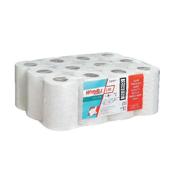 Wypall L10 White Wiper Mini Centrefeed Roll, Pack of 12 - 7374