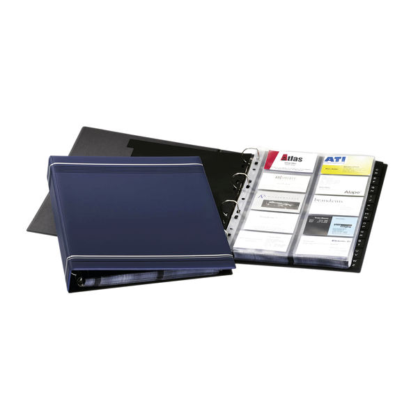 Durable Visifix Business Card Album 4 Ring With AZ Index Cap 400 Dk Blue