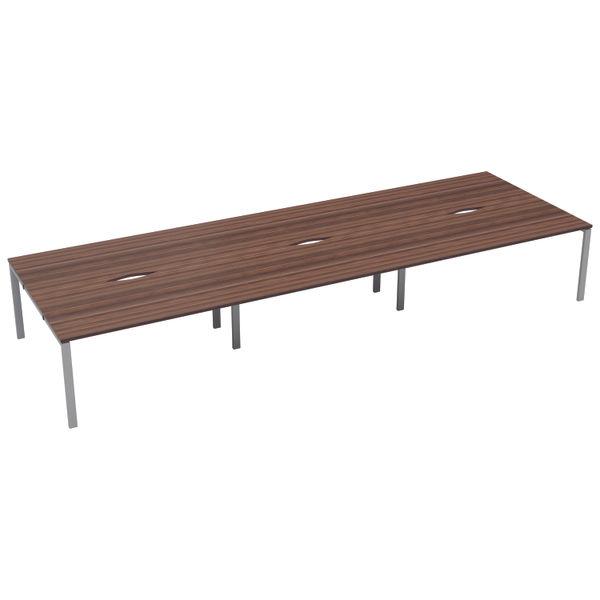 Jemini 1600mm Dark Walnut/White Six Person Bench Desk