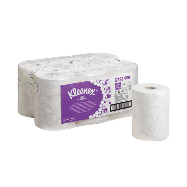Kleenex White 2-Ply Ultra Slimroll Hand Towel Rolls, Pack of 6 - 6781
