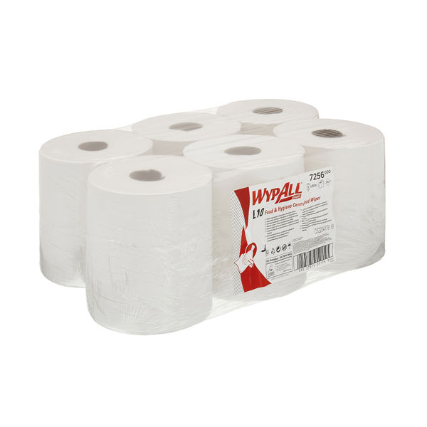 Wypall White L10 Food and Hygiene Centrefeed, Pack of 6 - 7256