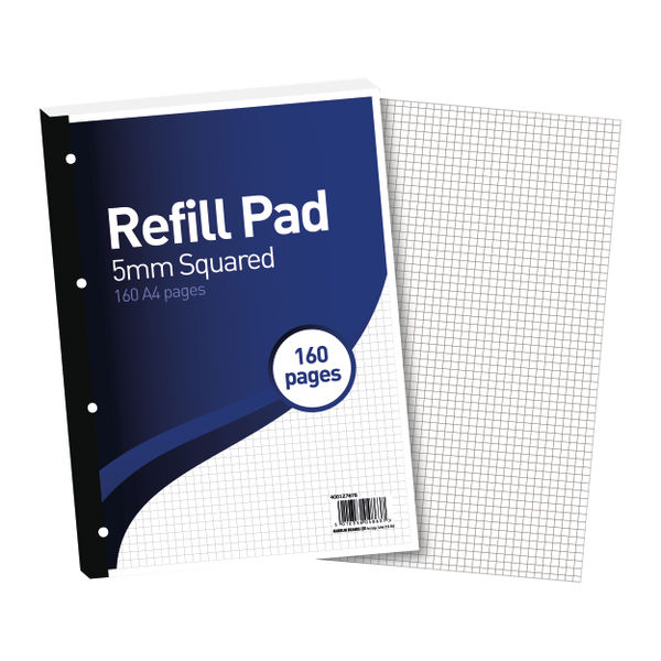 Hamelin 5mm Squared A4 Paper Refill Pad, Pack of 5 - 400127678