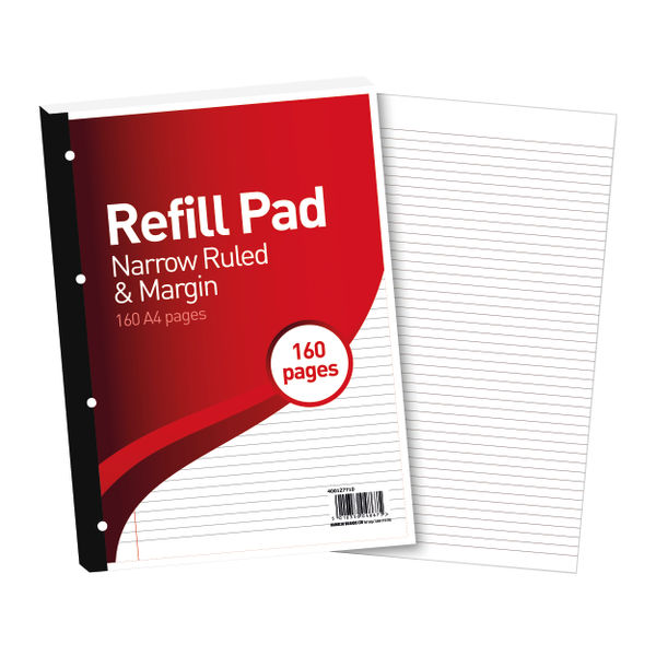 Hamelin 6mm Ruled and Margin A4 Paper Refill Pad, Pack of 5 - 400127710