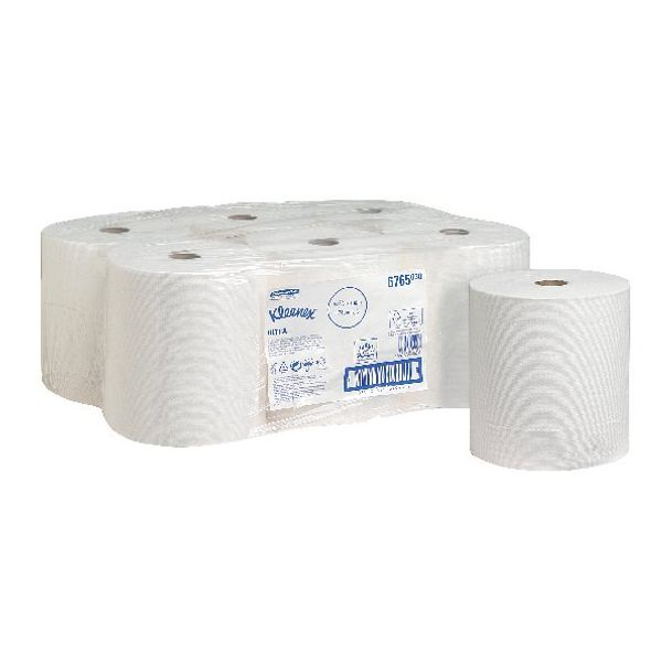 Kleenex White 2-Ply Ultra Hand Towel Rolls, Pack of 6 - 6765