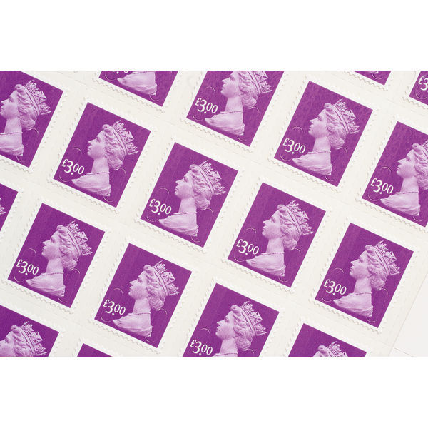 Royal Mail £3 Postage Stamps x 25 Pack (Self Adhesive Stamp Sheet)