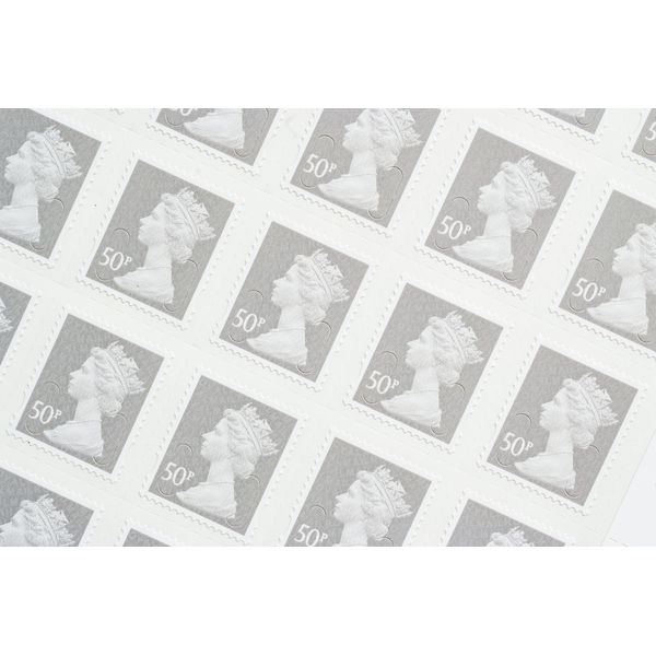 Royal Mail 50p Postage Stamps x 25 Pack (Self Adhesive Stamp Sheet)