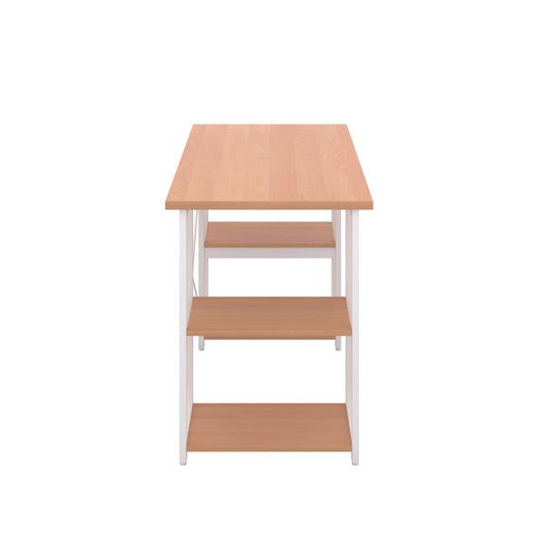 Jemini Soho Beech/White Straight Shelves Desk