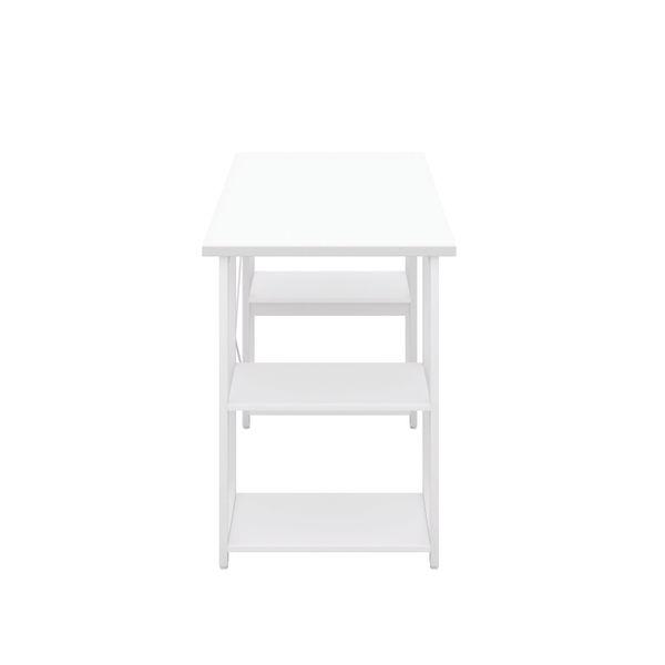 Jemini Soho White/White Straight Shelves Desk