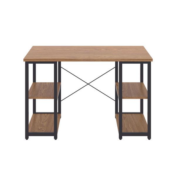 Jemini Soho Oak/Black Straight Shelves Desk
