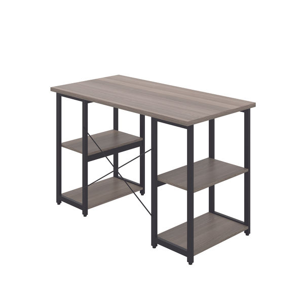 Jemini Soho Grey Oak/Black Straight Shelves Desk