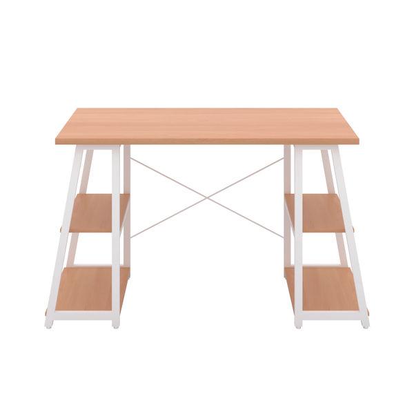 Jemini Soho Beech/White Angled Shelves Desk