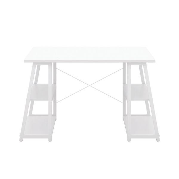 Jemini Soho White/White Angled Shelves Desk
