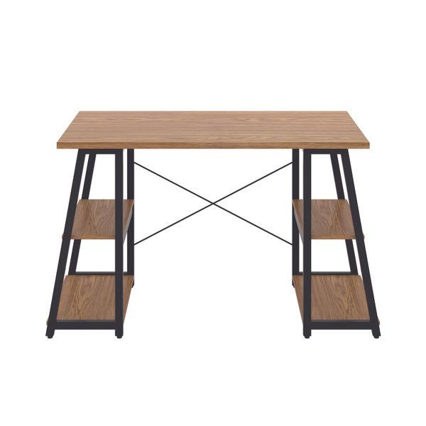 Jemini Soho Oak/Black Angled Shelves Desk