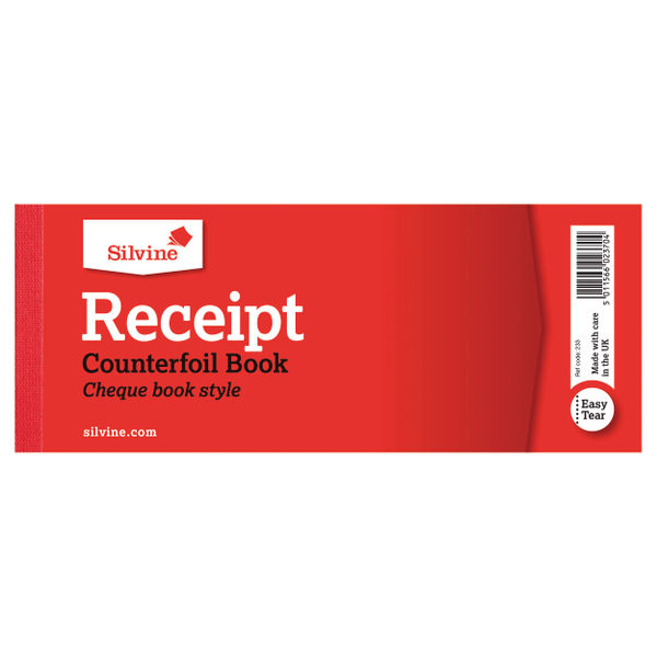 Silvine 80x202mm Cash Receipt with Counterfoil Books | 233
