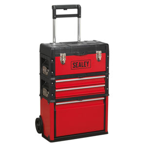 Sealey AP548 Mobile Steel/Composite 3 Compartment Toolbox (Red/Black)