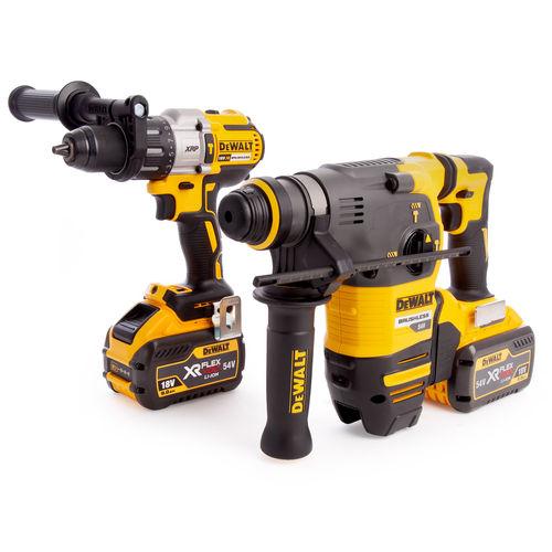 Dewalt DCK2033X2 18/54V Flexvolt Twin Pack - DCH333 SDS Plus Rotary Hammer + DCD996 Combi Drill (2 x 9.0Ah Batteries)