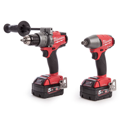 Milwaukee M18ONEPP2B-502X M18 One-Key Fuel Twin Pack - Percussion Drill and Impact Wrench (2 x 5.0Ah Batteries)