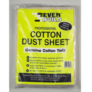 Everbuild Professional Cotton Dust Sheet Genuine Cotton Twill 12ft x 9ft