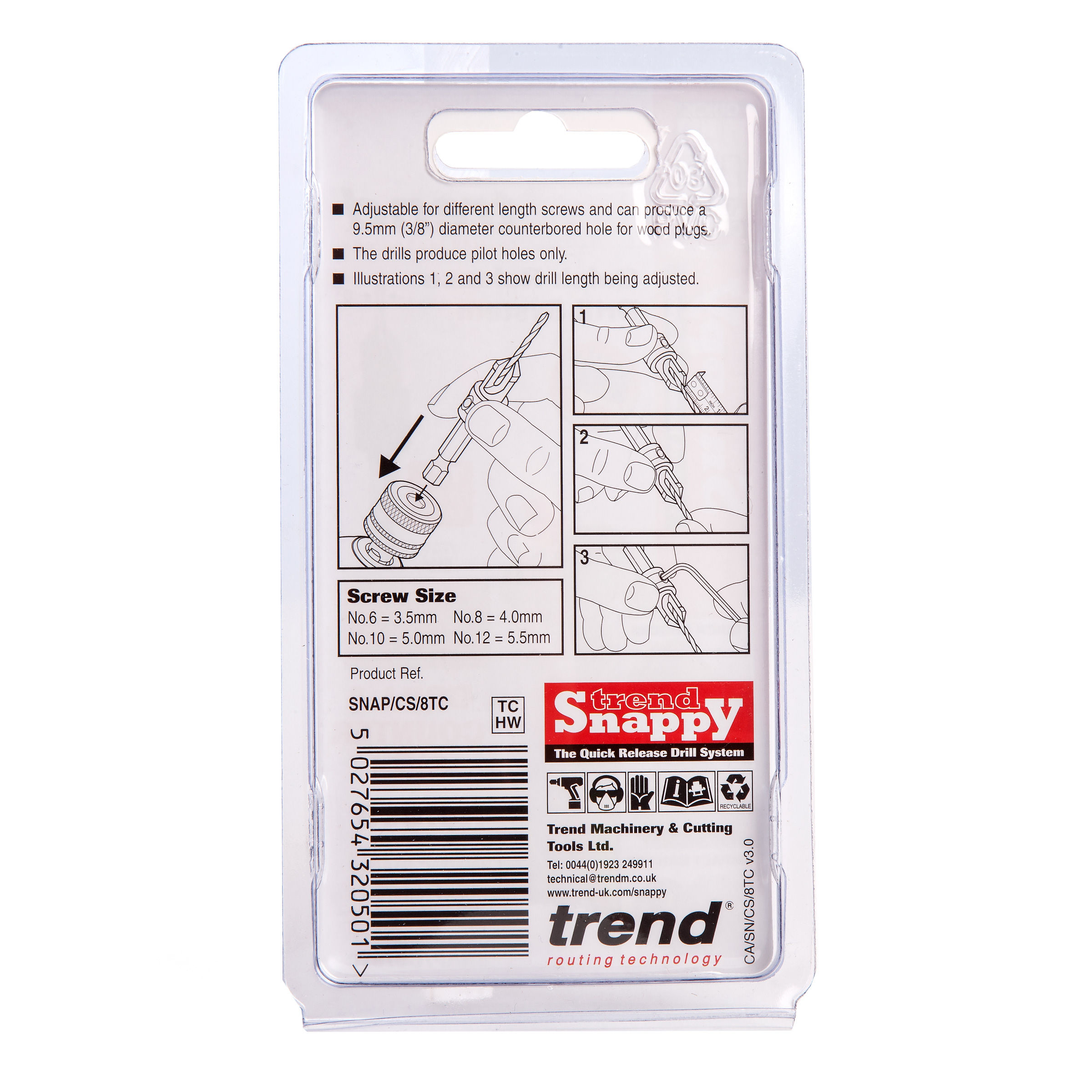 Trend SNAP//CS//6 SNAPPY COUNTERSINK WITH 3//32 DRILL