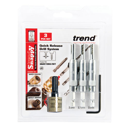 Trend SNAP/DBG/SET Drill Bit Guide Set with Quick Chuck - 5/64in, 7/64in & 9/64in