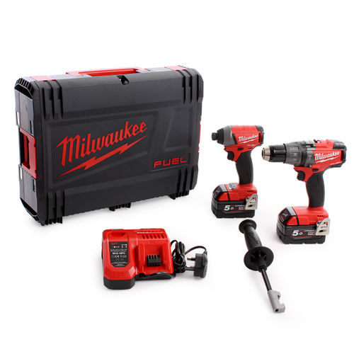 Milwaukee M18FPP2A M18 Fuel Twinpack - FPD Combi, FID Impact Driver (2 x 5.0Ah)